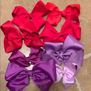 Accessories - Set of 8 red and purple hair bows